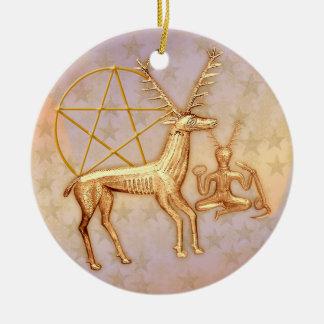 Gold Deer, Pentacle, &  Gold Cernunnos #1 Round Ceramic Ornament