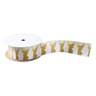 Gold Deer Silhouette Modern Holiday Satin Ribbon