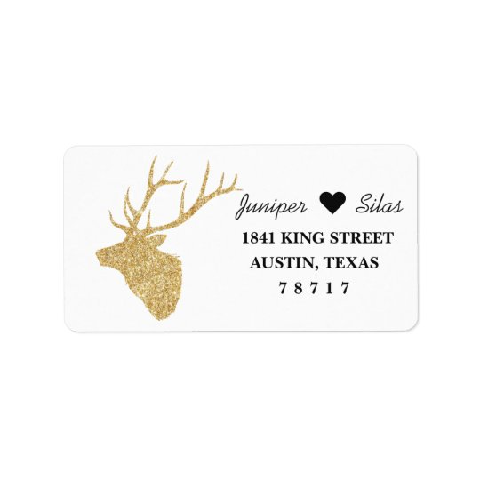 Gold Deer Silhouette Return Address Label