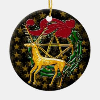 Gold Deer, Wreath, & Pentacle #1 Ceramic Ornament