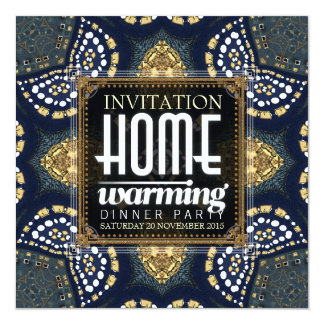 Gold Denim Home Warming Dinner Party Invitation