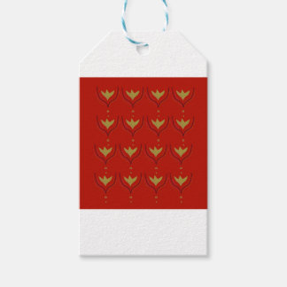 Gold design elements on brown gift tags