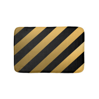Gold Diagonal Stripes Bath Mat
