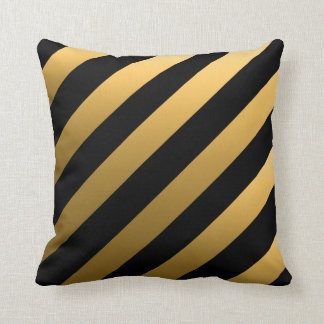 Gold Diagonal Stripes Throw Pillow