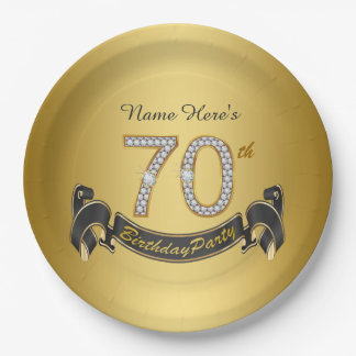 Gold Diamond 70th Birthday Party Paper Plate