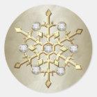 Gold Diamond Christmas Holiday Snowflake Classic Round Sticker