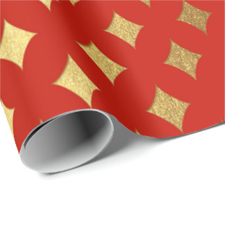 Gold Diamond Cut Bright Vivid Red Heraldic Wrapping Paper