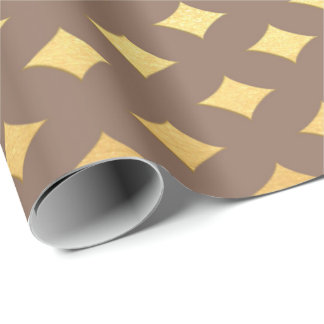 Gold Diamond Cut Ivory Beige Heraldic Wrapping Paper