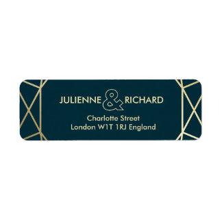 Gold Diamond Elegant Wedding Return Address Labels