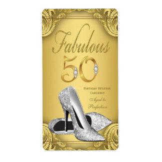 Gold Diamond Fabulous 50 Wine Bottle Labels