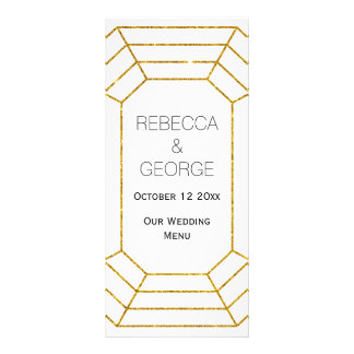 Gold diamond jewel trendy wedding menu card