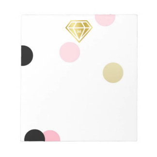 Gold Diamond & Large Pink Confetti Monogram Notepad
