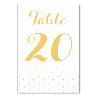 Gold Diamond on White Table Number Card