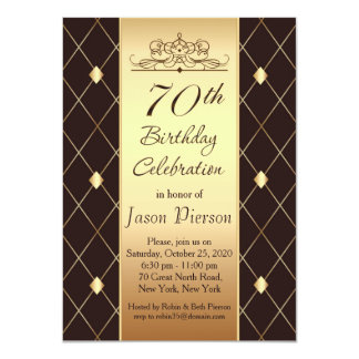 Gold diamond pattern on brown 70th Birthday Party Card