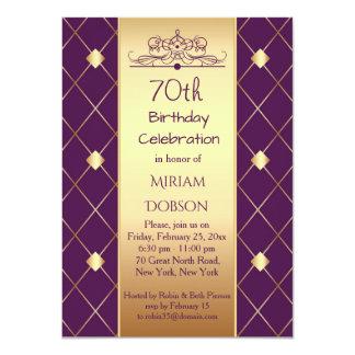 Gold diamond pattern on purple 70th Birthday Party Card