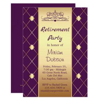 Gold diamond pattern on purple Retirement Party Card