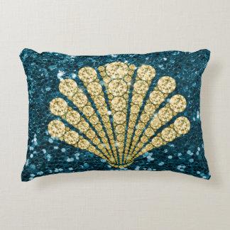 Gold Diamond Seashell Teal Faux Glitter Accent Pillow
