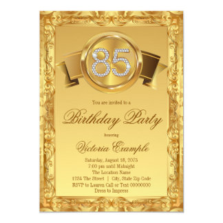 Gold Diamond Swirl Womans 85th Birthday Card