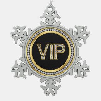 Gold Diamond VIP Christmas Pewter Snowflake Ornament