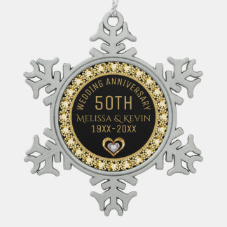 Gold Diamonds 50th Wedding Anniversary Template Snowflake Pewter Christmas Ornament