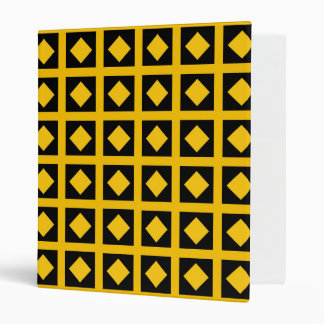 Gold Diamonds and Black Squares 3 Ring Binder