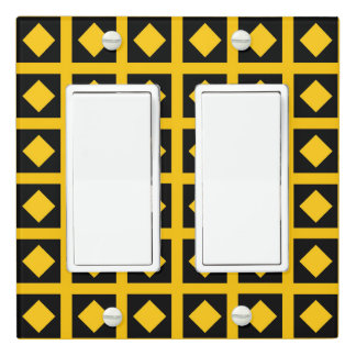 Gold Diamonds and Black Squares Light Switch Cover