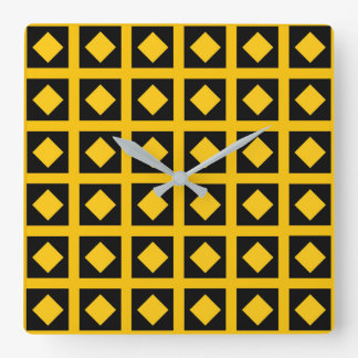 Gold Diamonds and Black Squares Square Wall Clock