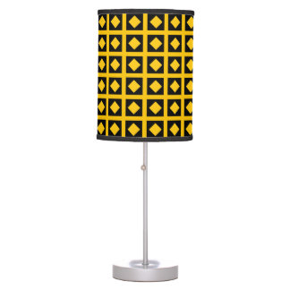 Gold Diamonds and Black Squares Table Lamp