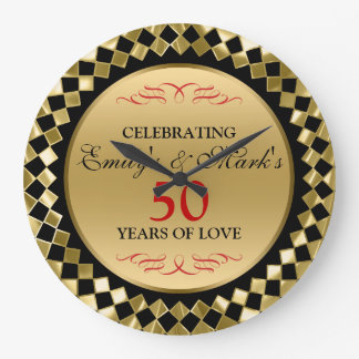 Gold Diamonds And Red Swirls- 50th Anniversary Large Clock