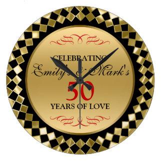 Gold Diamonds And Red Swirls- 50th Anniversary Wall Clocks