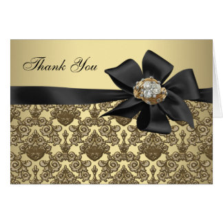 Gold Diamonds Black Damask Thank You Cards