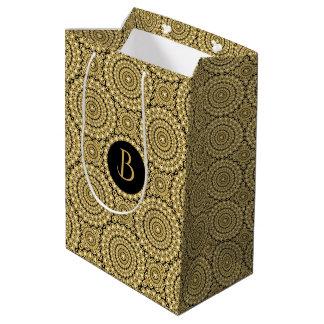 Gold Diamonds Circles Geometric Pattern Medium Gift Bag