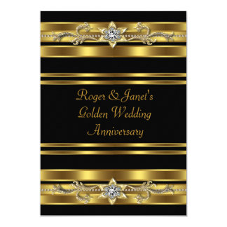 "Gold Diamonds Elegant 50th Wedding Anniversary 5"" X 7"" Invitation Card"