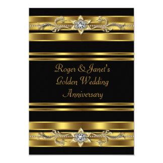 "Gold Diamonds Elegant 50th Wedding Anniversary 5"" X 7"" Invitation Card"