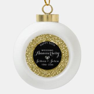 Gold Diamonds Glitter 50th Anniversary Ceramic Ball Ornament