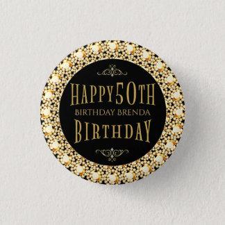 Gold Diamonds Glitter Happy 50th Birthday Template 1 Inch Round Button