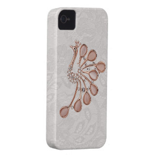 Gold Diamonds Peacock Paisley Lace iPhone 4 iPhone 4 Case-Mate Cases