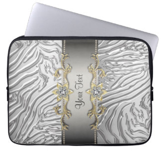 Gold Diamonds Silver Zebra Laptop Sleeve