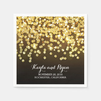 gold diamonds wedding paper napkin
