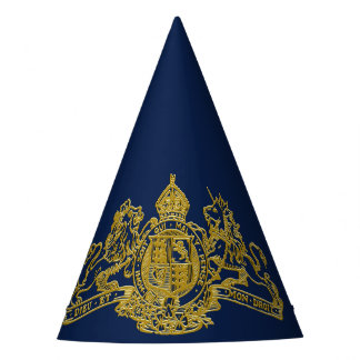 Gold Dieu et Mon Droit British Coat of Arms Party Hat
