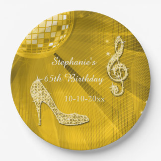 Gold Disco Ball and Heels 65th Birthday Paper Plate