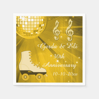 Gold Disco Ball and Roller Skates 30th Anniversary Paper Napkins