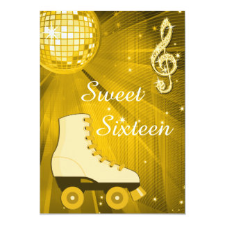"Gold Disco Ball and Roller Skates Sweet Sixteen 5"" X 7"" Invitation Card"