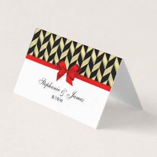 Gold DIY Herringbone DIY Bow Color Escort Card