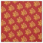 Gold Dog Papercut Chinese New Year 2018 Fabric