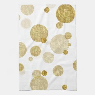 Gold Dot Faux Foil Sequin Bokeh Background Dots Kitchen Towel