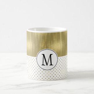 Gold Dots Abstract Monogram Coffee Mug