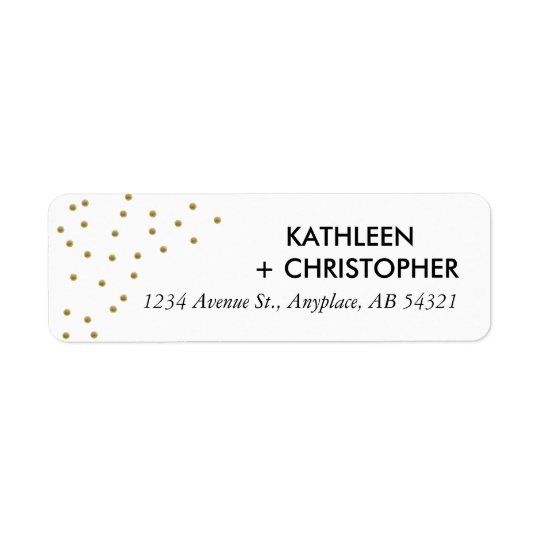 Gold Dots Address Label Polka Dots Elegant Simple