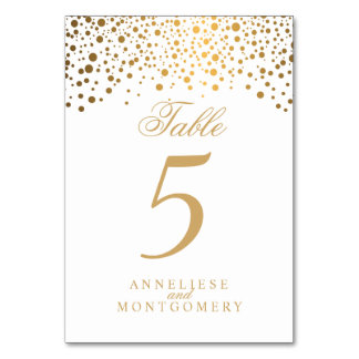 Gold Dots and White - Table Number