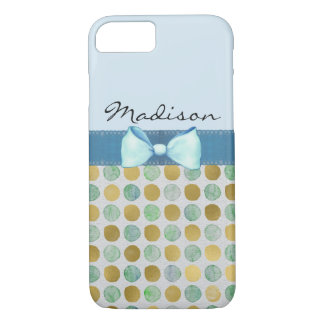 Gold Dots & Bow w/ Lace Custom Cell Phone Case